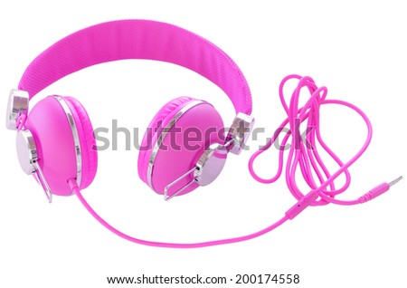 Bright neon colored purple violet female headphones isolated on white - stock photo