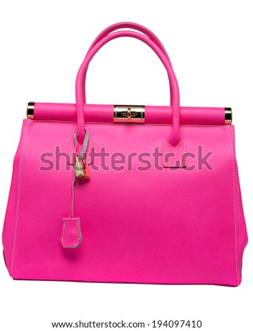 Bright neon pink bag with gold lock and ostrich texture leather isolated on white background