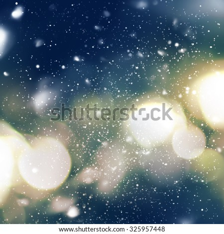 Bright Night Light in defocused with Snowfall. Blue, yellow color. Vibrant Background.  Digital Drawing - stock photo