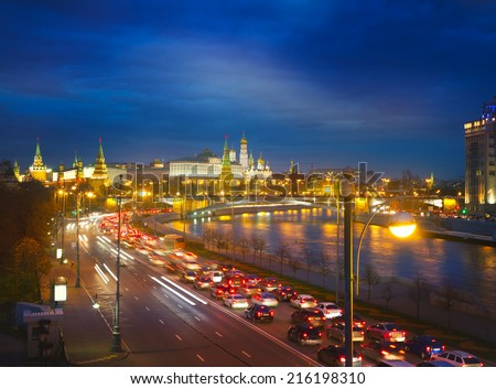 Bright night urban landscape, Moscow