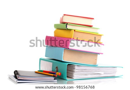 Bright office folder and books with stationery isolated on white