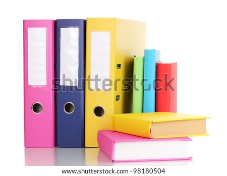 Bright office folders and books isolated on white - stock photo
