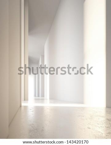 bright office interior - stock photo
