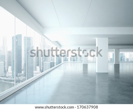 Bright office interior - stock photo