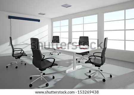 Bright office with windows and conference table - stock photo