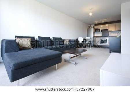 bright open plan living area with modern sofa and fully fitted kitchen