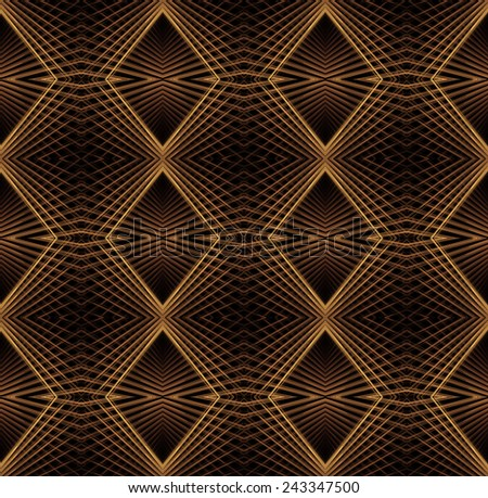 Bright orange / copper abstract woven diamond design on black background (tile able) - stock photo