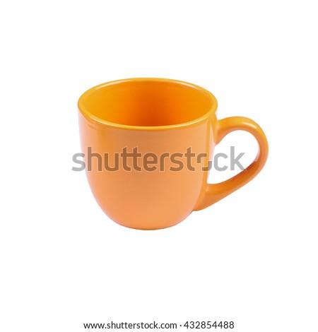 Bright orange cup or mug isolated on white background - stock photo