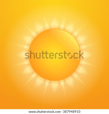 Bright orange hot sun - stock photo