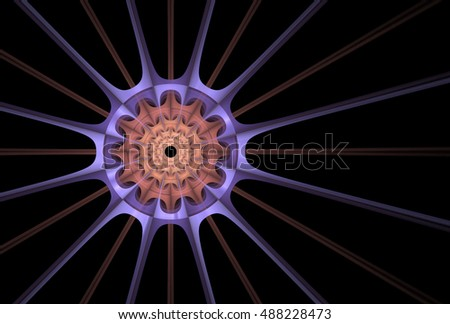 Bright orange, peach and purple abtract woven spiky disc design on black background