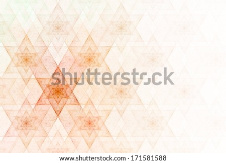 Bright orange / red abstract star of David repeating pattern on white background - stock photo