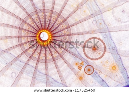 Bright orange, red, yellow and blue abstract wheel design on white background - stock photo