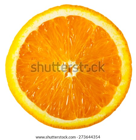 bright orange slice isolated on a white background