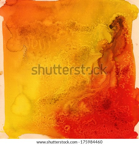 bright orange streaks watercolor - stock photo
