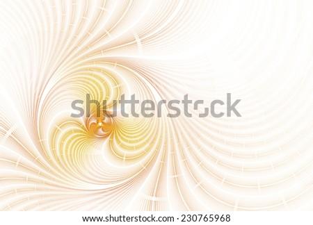 Bright orange / yellow / gold swirling disc design on white background  - stock photo