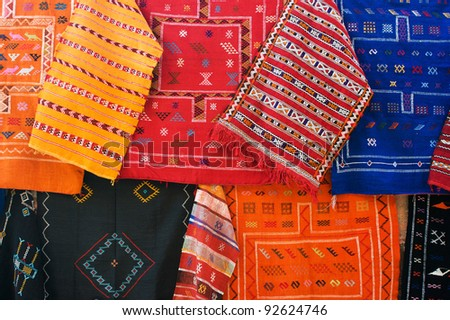 Bright oriental carpets on the market in Marrakesh, Morocco - stock photo