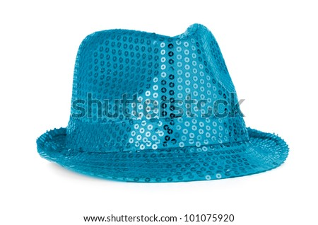 Bright paillette hat on white background. - stock photo