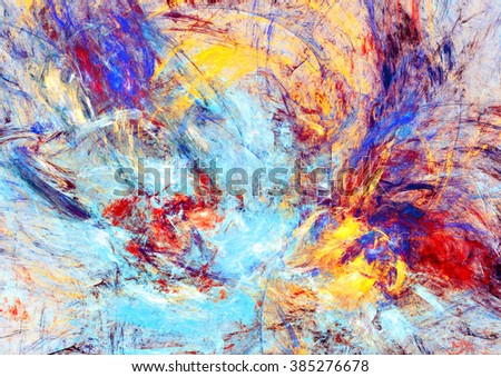 Bright paint spots. Abstract red, blue and yellow bright color background. Dynamic painting texture. Modern futuristic pattern. Fractal artwork for creative graphic design