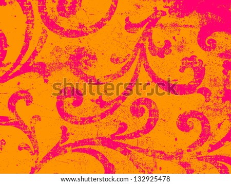 Bright, paisley or arabesque ornament in bright, spring orange and pink - stock photo