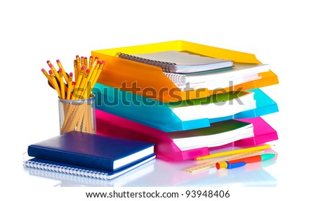 bright paper trays and stationery isolated on white