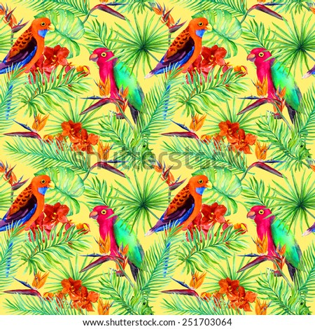 Bright parrot birds, tropical tree and jungle exotic flowers (bird of paradise flower, orchid). Seamless pattern. Watercolor  - stock photo