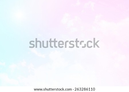Bright pastel skies and bright sun. - stock photo