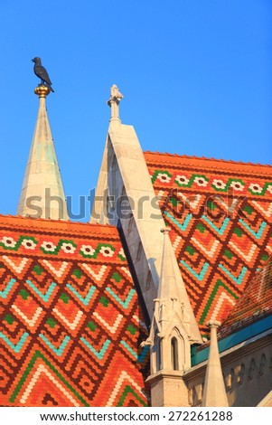 Bright pattern on the roof of St Matthias church in Budapest, Hungary - stock photo