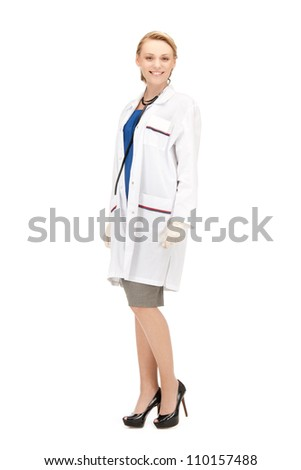 bright picture of an attractive female doctor - stock photo
