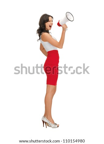 bright picture of angry woman with megaphone . - stock photo