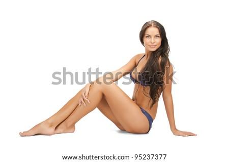 bright picture of beautiful woman in bikini - stock photo
