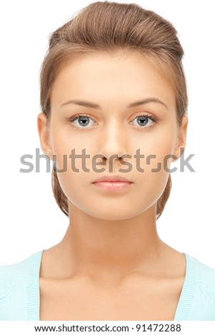 bright picture of calm and friendly woman - stock photo
