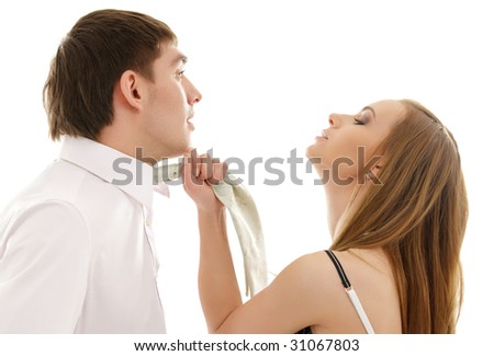 bright picture of conflicting couple over white