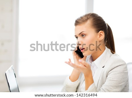 bright picture of confused woman with smartphone - stock photo