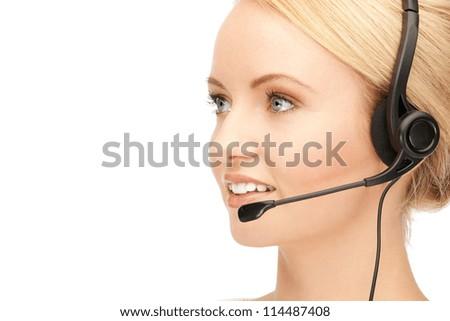 bright picture of friendly female helpline operator - stock photo