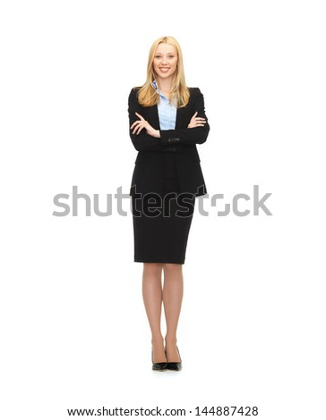 bright picture of friendly young smiling businesswoman - stock photo