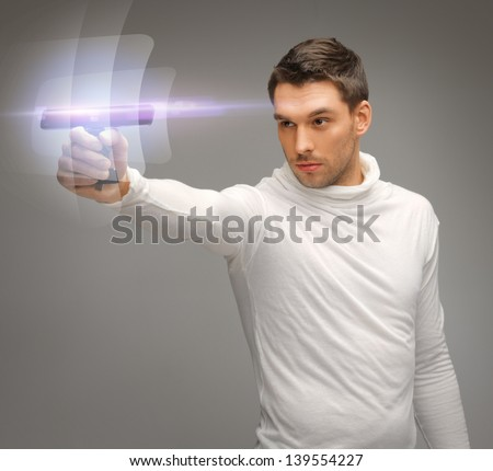 bright picture of futuristic man with gadget
