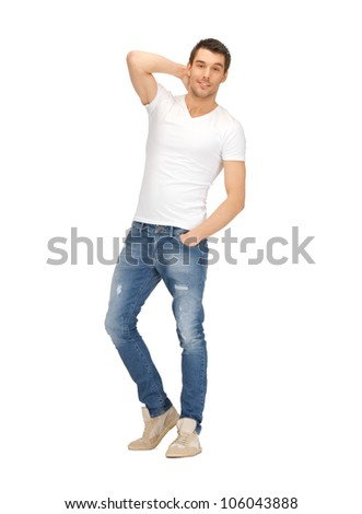 bright picture of handsome man in white shirt - stock photo