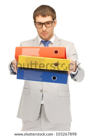 bright picture of handsome man with folders