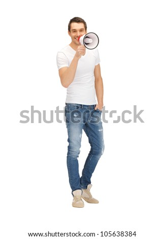 bright picture of handsome man with megaphone. . - stock photo