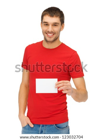 bright picture of handsome man with note card. - stock photo