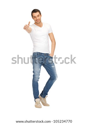 bright picture of handsome man with thumbs up