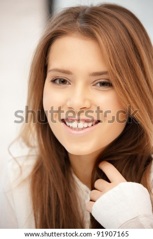 bright picture of happy and smiling woman