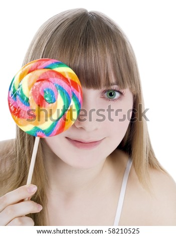 Bright picture of happy blonde with color lollipop - stock photo