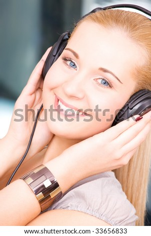 bright picture of happy girl in headphones
