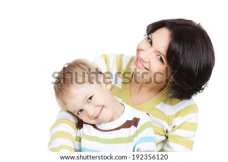 Bright picture of happy mother and little smiling son over white background - stock photo