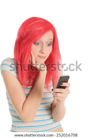 Bright picture of happy red hair woman with cell phone - stock photo