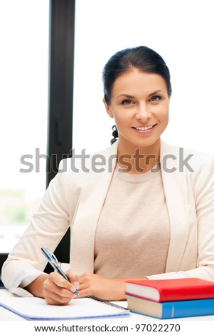 bright picture of happy woman with book