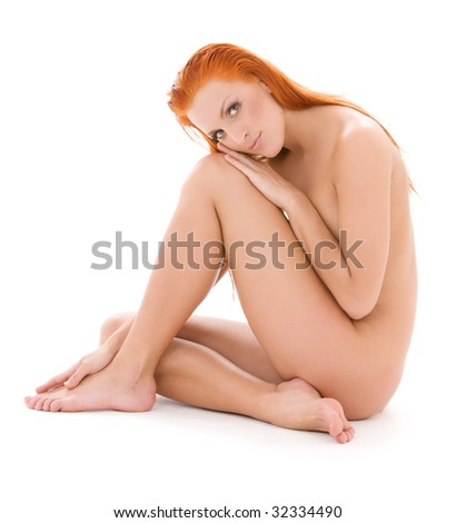 bright picture of healthy naked redhead over white