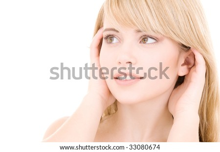 bright picture of lovely blonde over white - stock photo