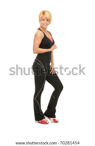 bright picture of lovely fitness instructor over white - stock photo